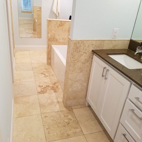 Commercial porcelain tile clean & seal